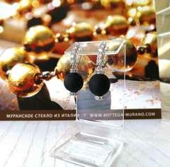 Серьги из муранского стекла со стразами Franchesca Medio цвет Black Matt 064A