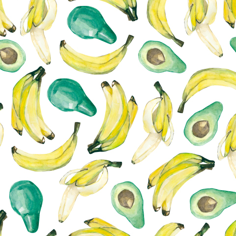 Банан и авокадо