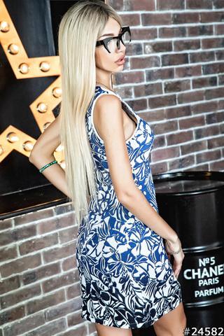 Летнее льняное платье-футляр, с принтом синие цветы 1