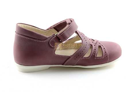 Туфли Тотто из натуральной кожи на липучке для девочек, цвет ирис фиолетовый. Изображение 4 из 12.