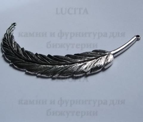"""Коннектор """"Перо большое"""" (1-1) 95х18 мм (цвет - античное серебро) ()"""