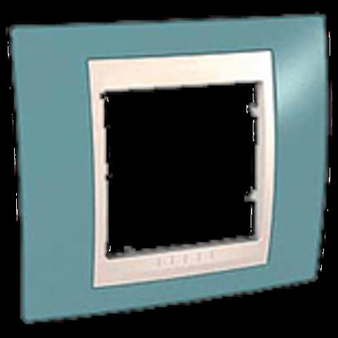Рамка на 1 пост. Цвет Синий/Бежевый. Schneider electric Unica Хамелеон. MGU6.002.573