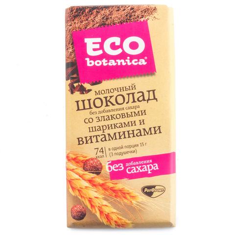 Шоколад молочный Eco Botanica без добавления сахара со злаковыми шариками и витаминами 90г