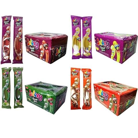 'Jelaxy Sour Stick Mix (24х8)  Жевательный мармелад с фруктовым соком Кислые палочки 1кор*8бл*24шт, 35гр