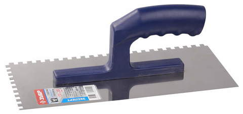 ЗУБР Профи 130х280 мм, 6х6 мм, гладилка штукатурная зубчатая нержавеющая с пластиковой ручкой. Серия Профессионал.