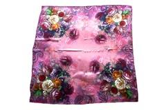 Итальянский платок из шелка сиреневый с цветами 0401