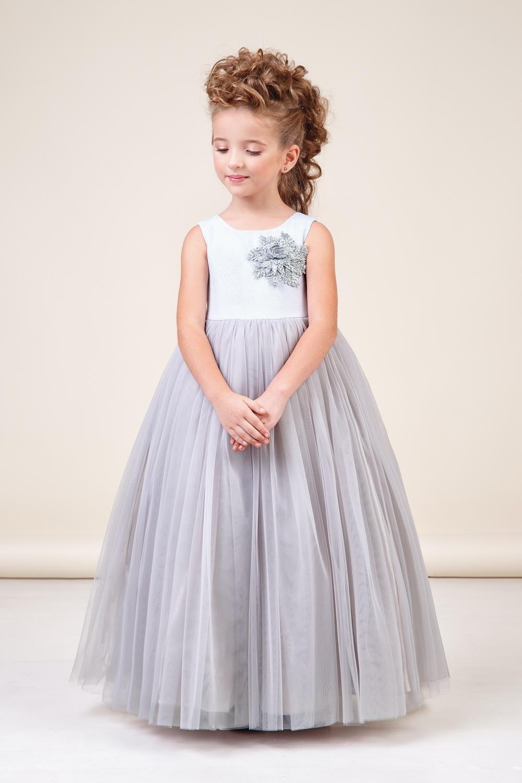 Платье серебристое для девочки 38-8038-2