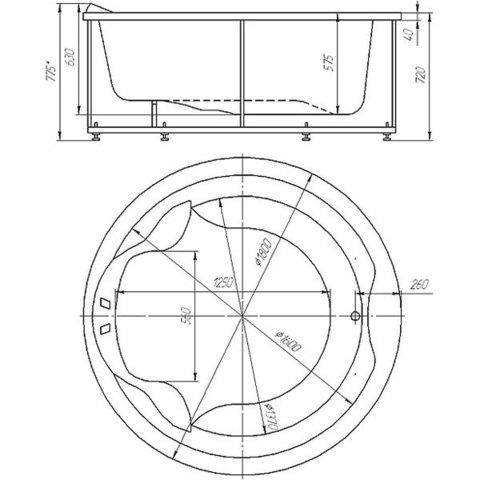 Ванна акриловая круглая Aquatek Аура диаметр 180 см, на каркасе и сливом-переливом схема