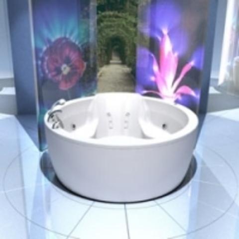 Ванна акриловая круглая Aquatek Аура диаметр 180 см, на каркасе и сливом-переливом