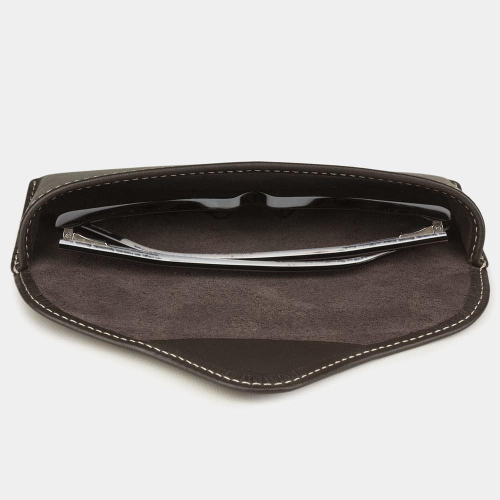 Футляр для очков Vision Easy из натуральной кожи теленка, темно-коричневого цвета