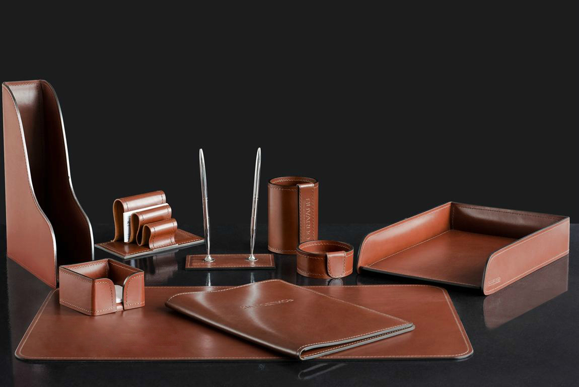 Настольный набор для письменного стола из кожи 9 предметов Full Grain Toscana Tаn