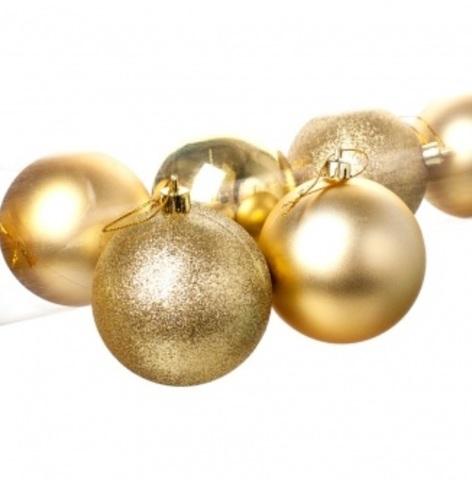 Набор шаров в тубе 8шт. (пластик), D8см, цвет: золотой
