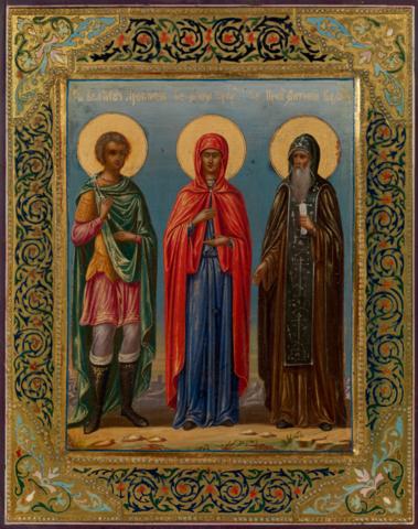 Икона святая Анна Пророчица, великомученик Прокопий и преподобный Антоний Великий на дереве на левкасе