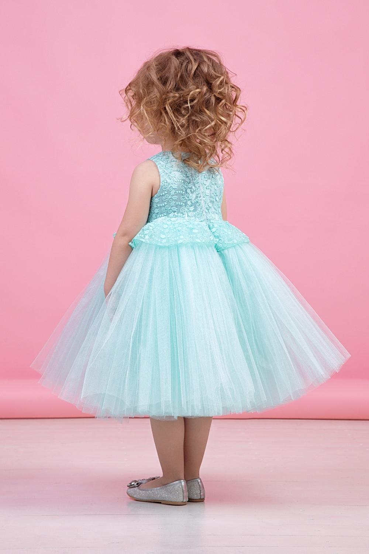 Платье мятное для девочки 38-9013-3