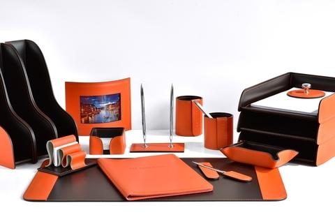 Настольный набор руководителя 17 предметов из кожи цвет оранж/шоколад