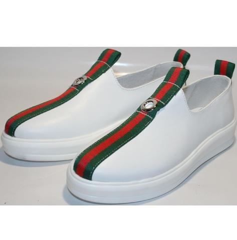 Туфли кроссовки белые New Malange. Кожаные кроссовки без шнурков женские.