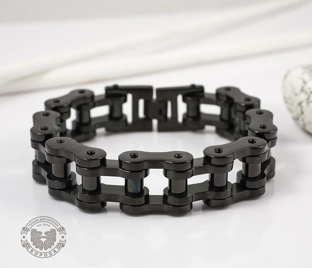 BM123 Стильный стальной браслет «Цепь» черного цвета (22 см)