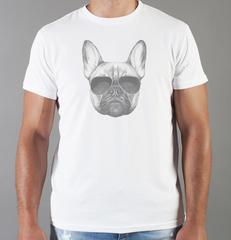 Футболка с принтом собаки (Собачки, Французский бульдог) белая 0058