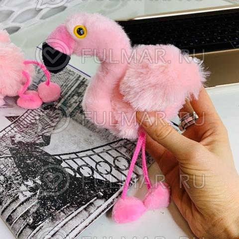 Розовый Фламинго-брелок игрушка