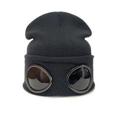 Вязаная шапка пилота с очками черная