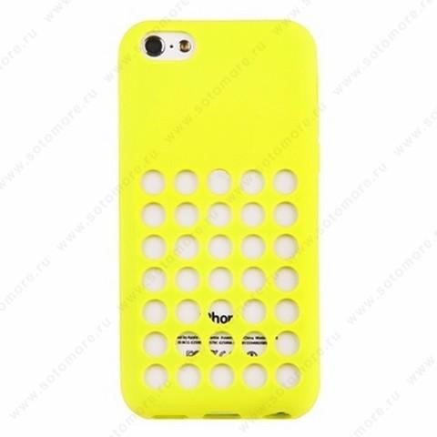 Накладка силиконовый для Apple iPhone 5C с перфорацией желтый