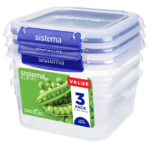 """Набор герметичных контейнеров Sistema """"KLIP IT+"""" 1,15 л, 3шт."""