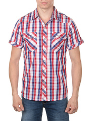821-4 рубашка мужская, красно-синяя