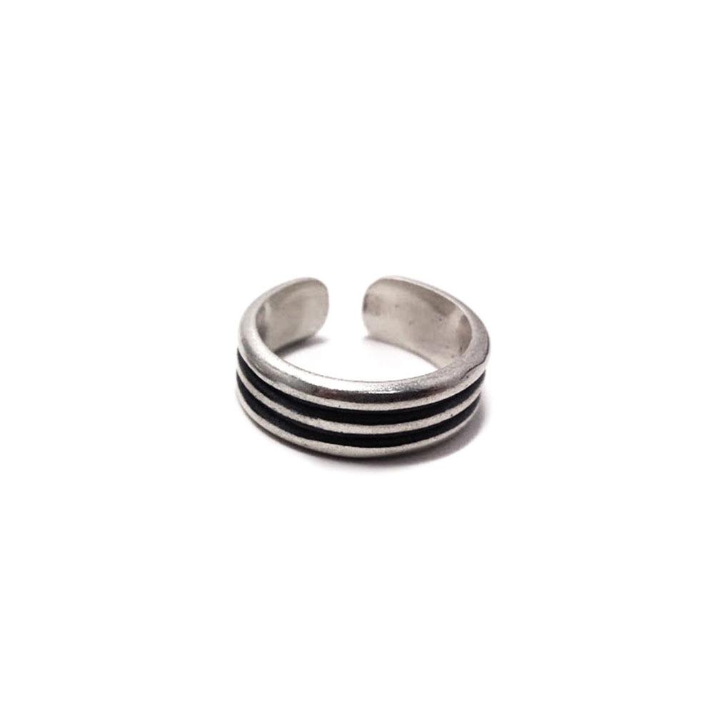 Pair phalanx rings Rock 'n' roll trio, sterling silver