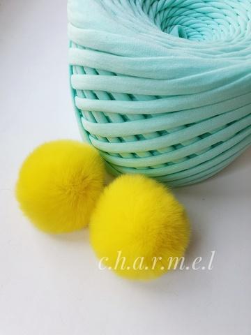 Помпон из натурального меха, Кролик, 5-6 см, цвет Лимонный, 2 штуки
