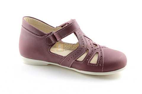 Туфли Тотто из натуральной кожи на липучке для девочек, цвет ирис фиолетовый. Изображение 2 из 12.
