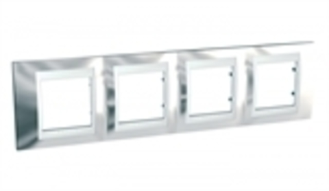 Рамка на 4 поста. Цвет Серебро/Белый. Schneider electric Unica Хамелеон. MGU66.008.810
