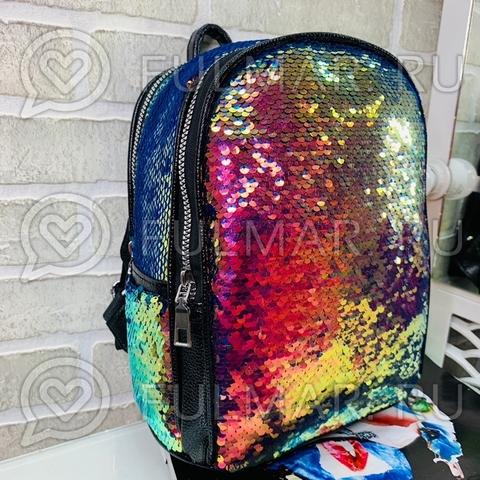 Рюкзак с пайетками меняющий цвет Морская волна с переливами-Синий блестящий Mila