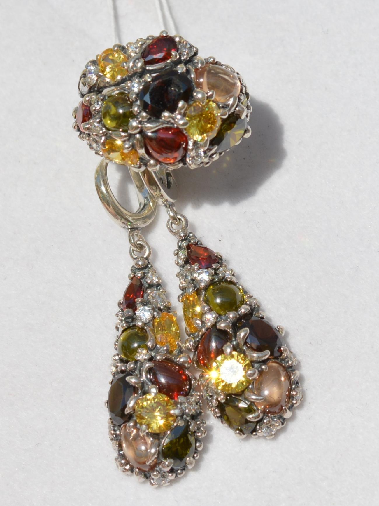 Равель (кольцо + серьги из серебра)