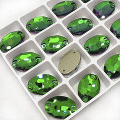 Закажите стразы пришивные Oval Emerald, Эмеральд зеленые в интернете