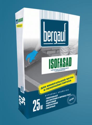 Клей для плит из пенополистирола и минеральной ваты Бергауф Изофасад 25 кг