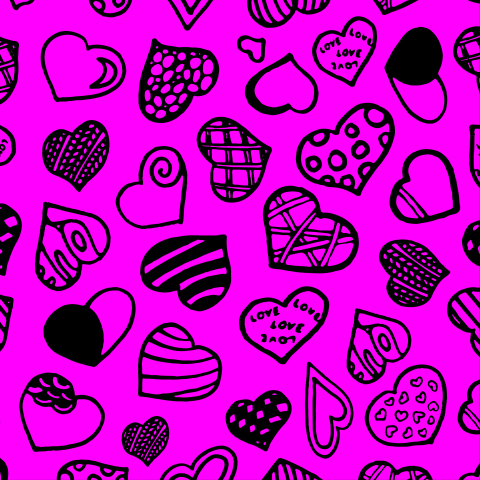 Seamless pattern with black hearts on pink background.