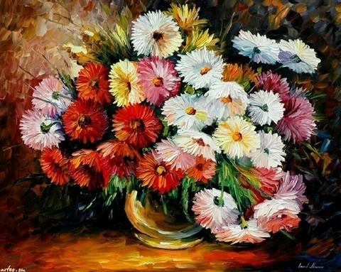 Алмазная Мозаика 30x40 Букет хризантем в вазе (арт. GB70201)