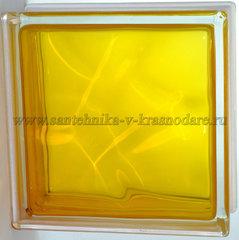 Стеклоблок медовый волна окрашенный изнутри  Vitrablok  19x19x8