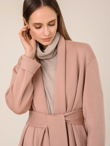 Женский кардиган бежево-розового цвета из 100% шерсти - фото 3