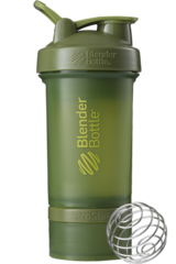 BlenderBottle ProStak, 650мл Шейкер с 2мя контейнерами, таблетницей и пружиной Хаки Оливковый