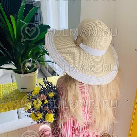 Женская соломенная шляпа с широкими полями Очаровашка с белой лентой и бамбуковым кольцом