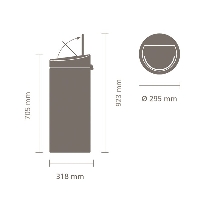Мусорный бак Touch Bin New (30 л), Чайная роза, арт. 115226 - фото 1