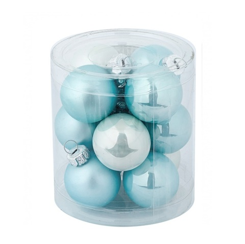 Набор шаров 12шт. (стекло), D3см, голубой микс
