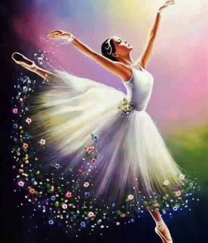 Алмазная Мозаика 20x30 Балерина в прыжке
