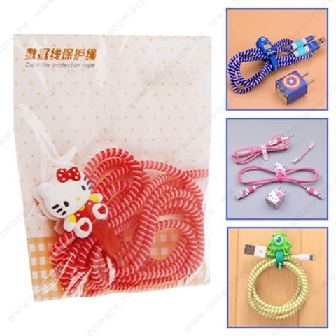 Скрутка для кабеля или наушников резиновая рыбка + намотка на кабель красный