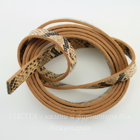 "Шнур кожаный, 10х2 мм, ""Змея"", цвет - коричневый, 1,1-1,2 м"