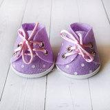 Ботиночки для игрушек сиреневые в горошек
