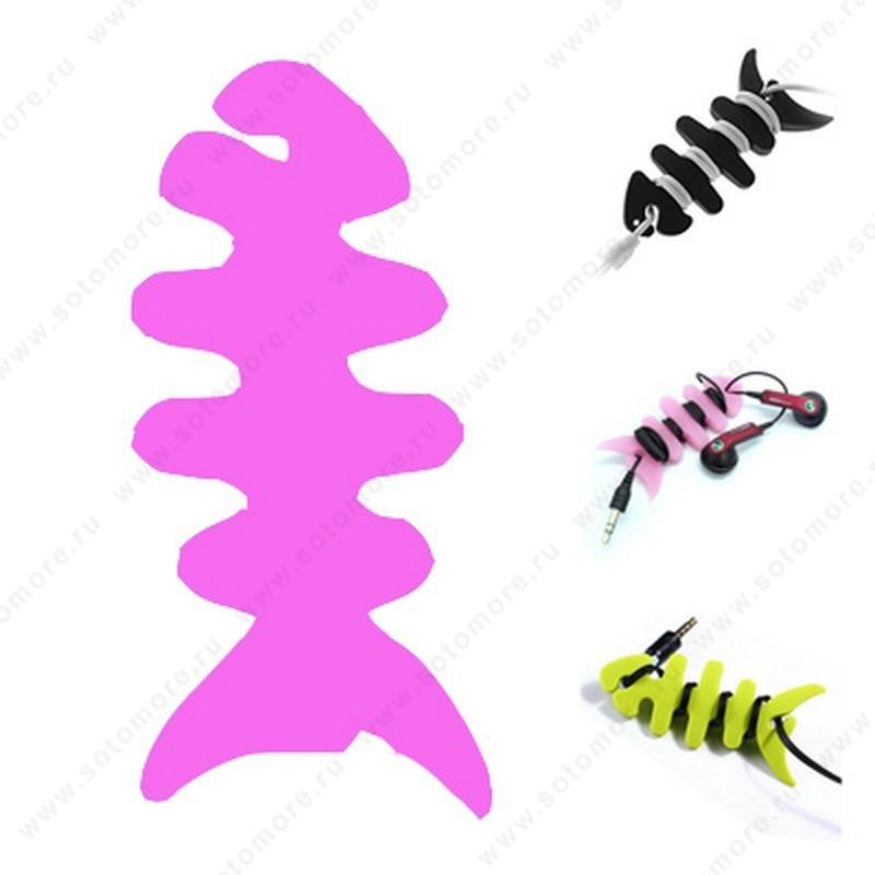Скрутка намотка для кабеля или наушников резиновая рыбка розовый