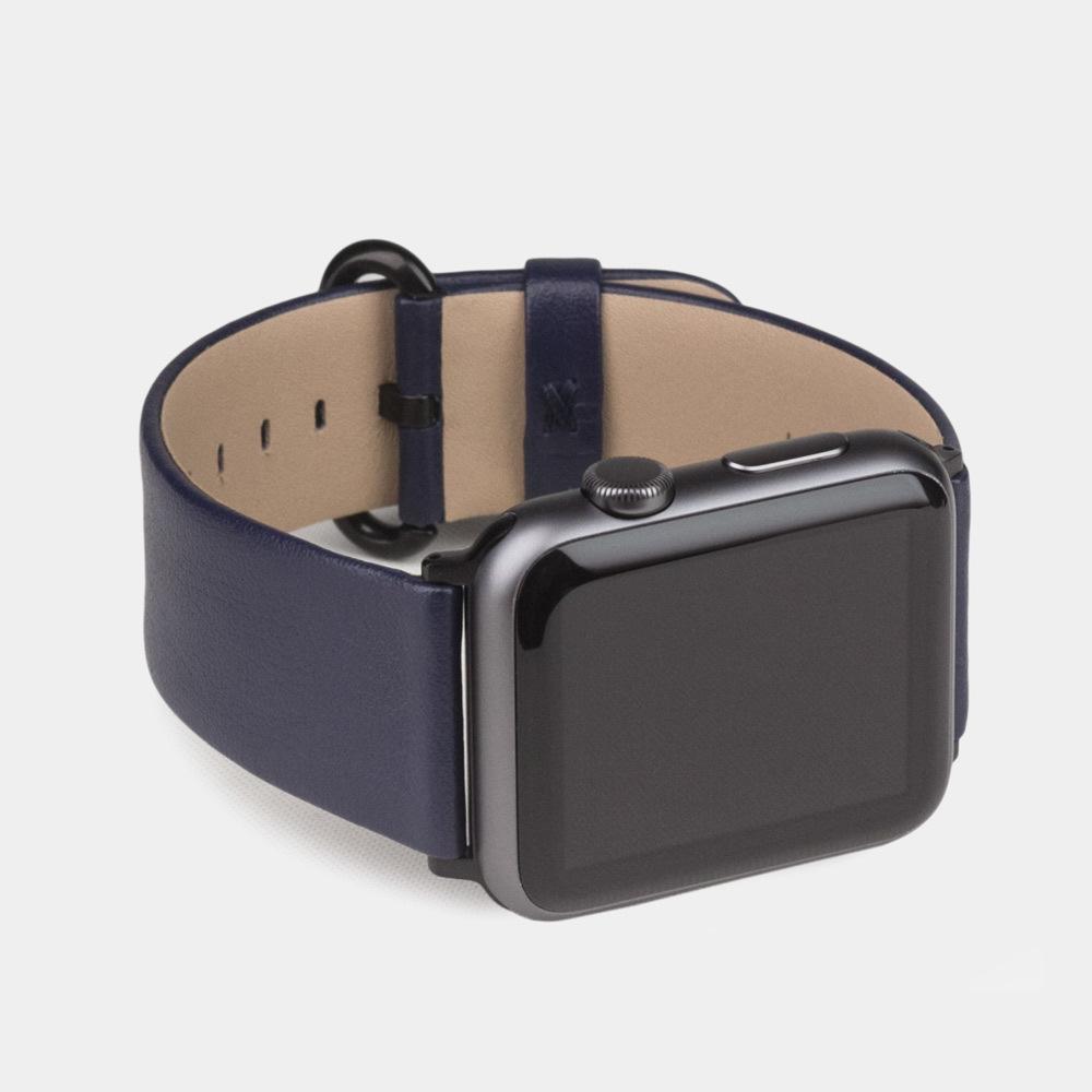 Ремешок для Apple Watch 42/44мм ST Classic из натуральной кожи теленка, темно-синего цвета