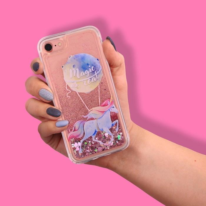 Силиконовый Чехол для телефона iPhone 7 с блёстками внутри Magic is real фото